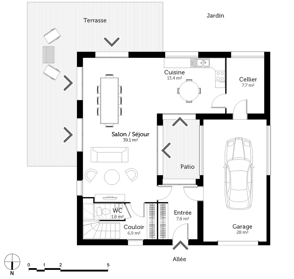 Plan maison cube a etage maison en c avec bardage bois - Plan maison cubique gratuit ...
