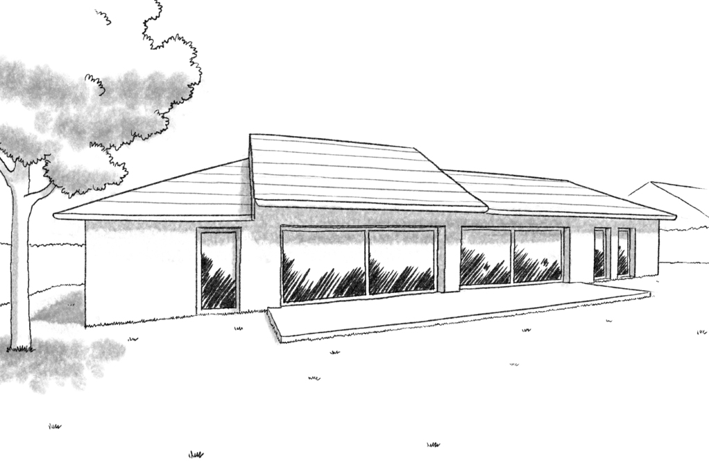Esquisse 3D Plan de maison de plain-pied avec 2 chambres et garage