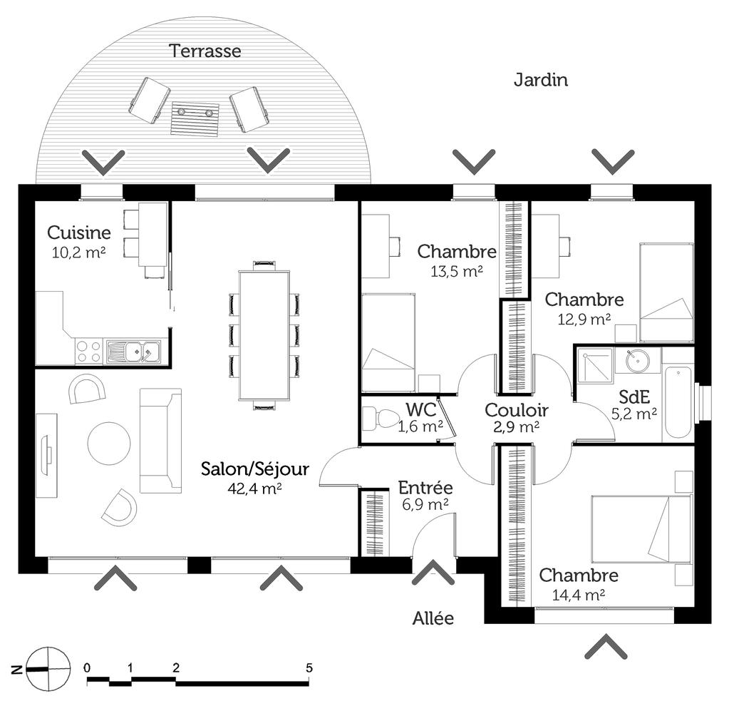 plan maison traditionnelle 110 m ooreka. Black Bedroom Furniture Sets. Home Design Ideas