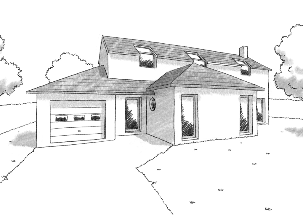 Esquisse 3D Plan de maison traditionnelle de 150 m²