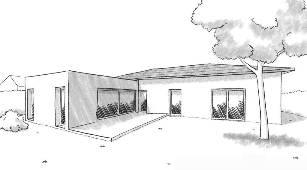 Esquisse 3D Plan de maison de plain-pied en L avec 4 chambres