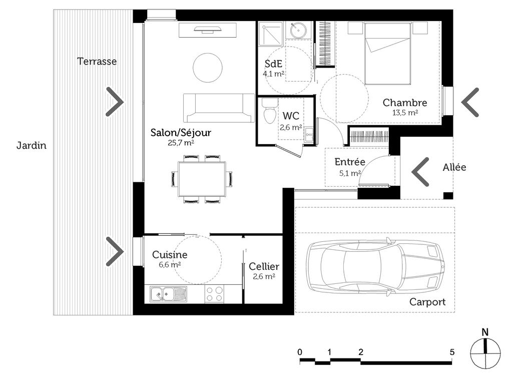 aménagement maison 80m2
