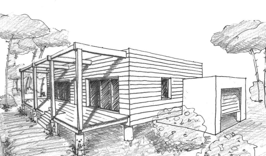 Esquisse 3D Plan de maison de 60 m² avec garage