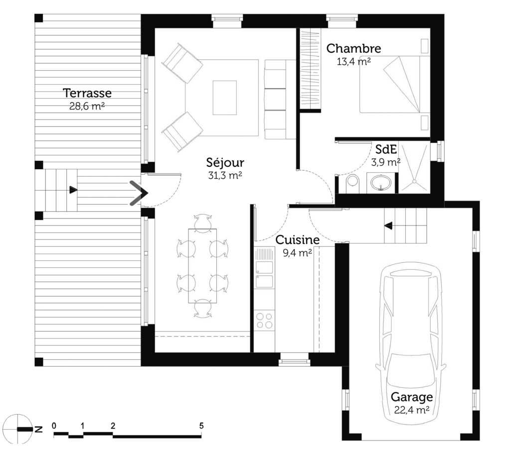 Plan maison 6m de large for Plan maison positive