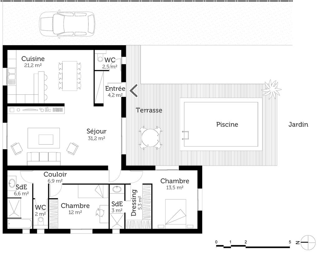 Plan maison en l avec piscine ooreka for Plan de maison de luxe avec piscine