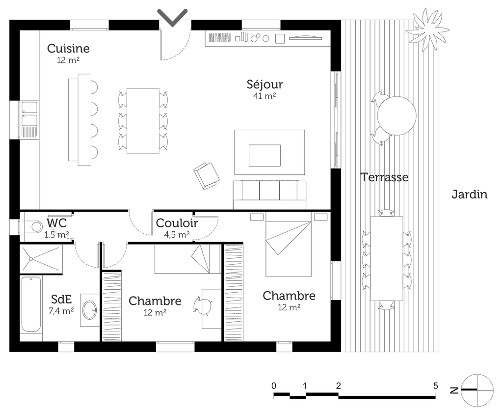 Plan maison cubique 90 m ooreka for Plan maison cube etage