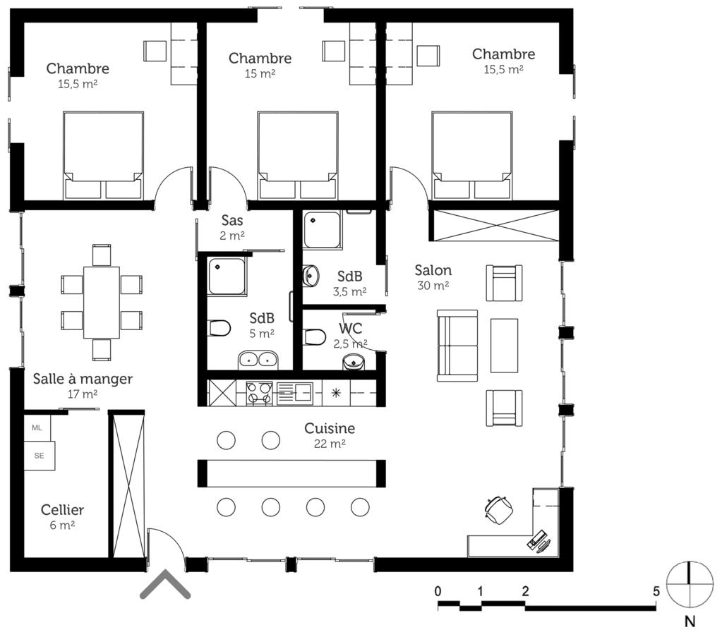 Plan maison cubique moderne ooreka - Plan de maison cubique ...