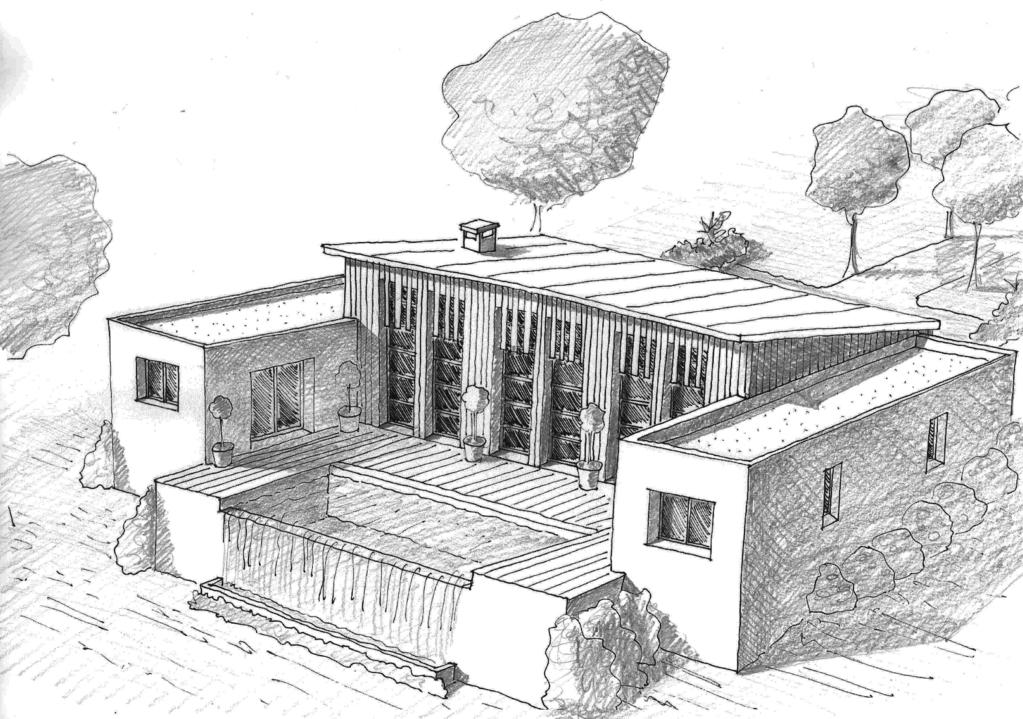 Plan maison en u 110 m ooreka for Construction piscine 3d