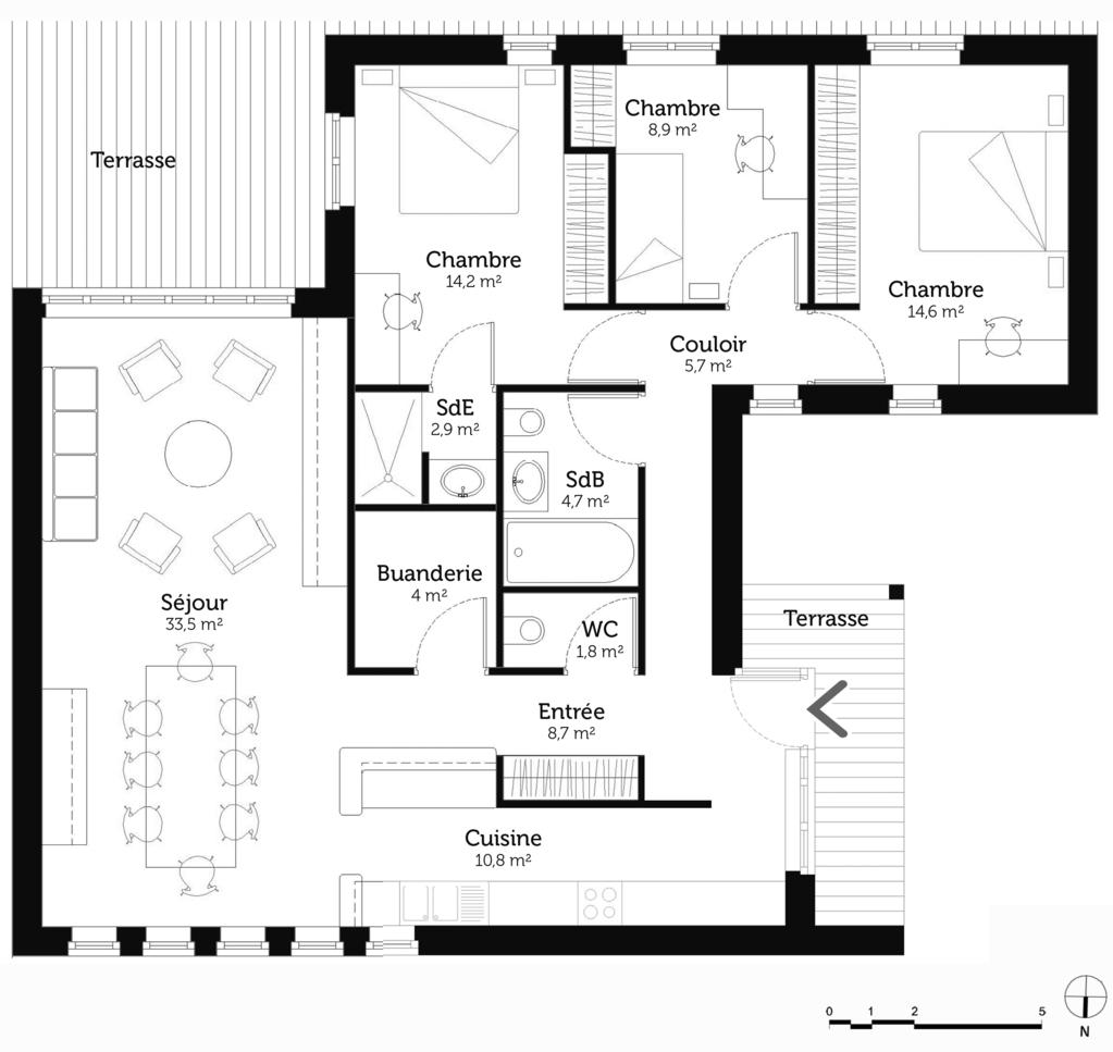 Plan maison plain pied 110 m ooreka for Plan maison plain pied 5 chambres