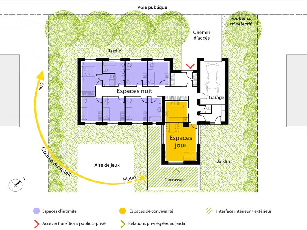 Plan interieur maison plain pied une maison volutive et for Plan interieur maison en bois