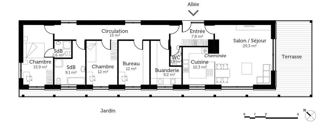 plan de maison en longueur