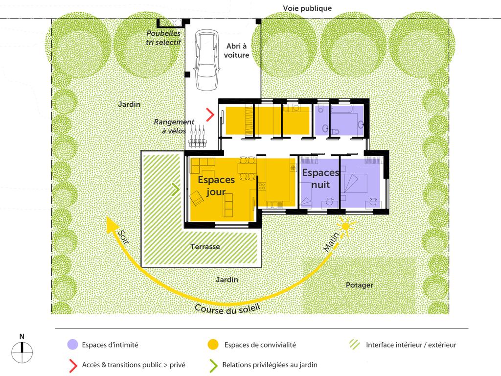 ... Maison Passive De Plain Pied. © Marcin Wiacek Architecte Esquisse 3D Du  Plan. 100 M²