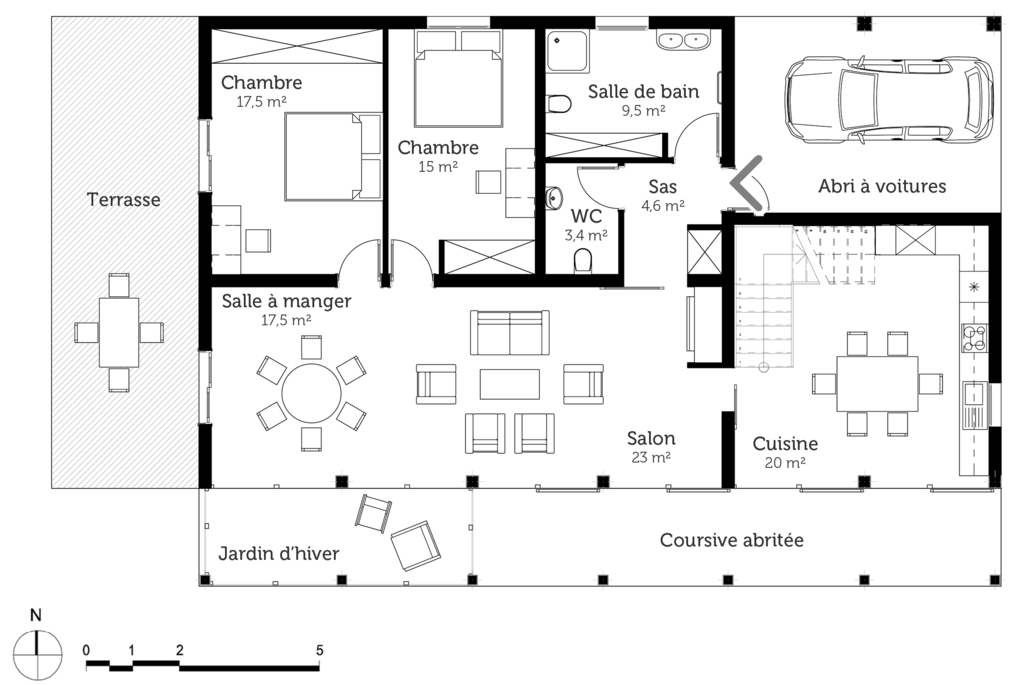 Plan maison bbc moderne ooreka for Plan maison contemporaine bbc