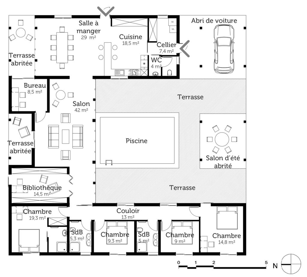 plan maison carr e avec piscine ooreka. Black Bedroom Furniture Sets. Home Design Ideas