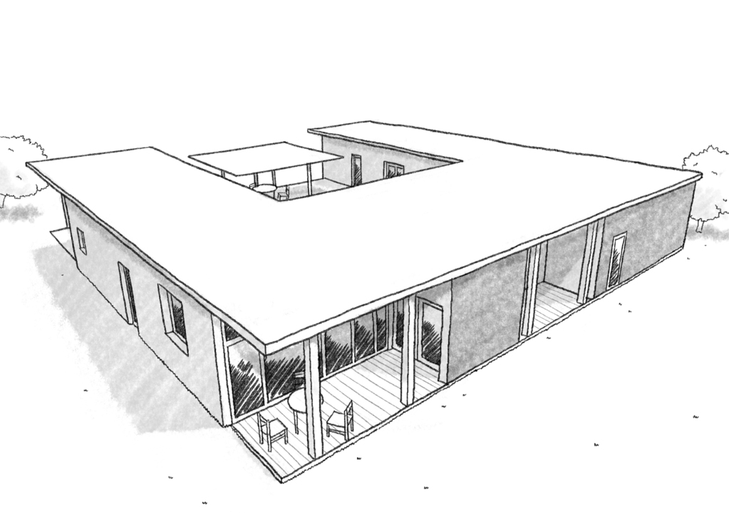 Esquisse 3D Plan De Maison Carrée Avec Piscine