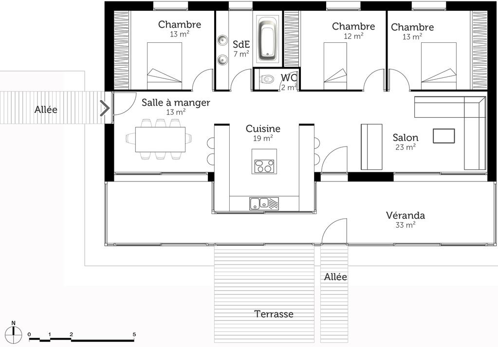 Plan maison 100 m² avec véranda - Ooreka