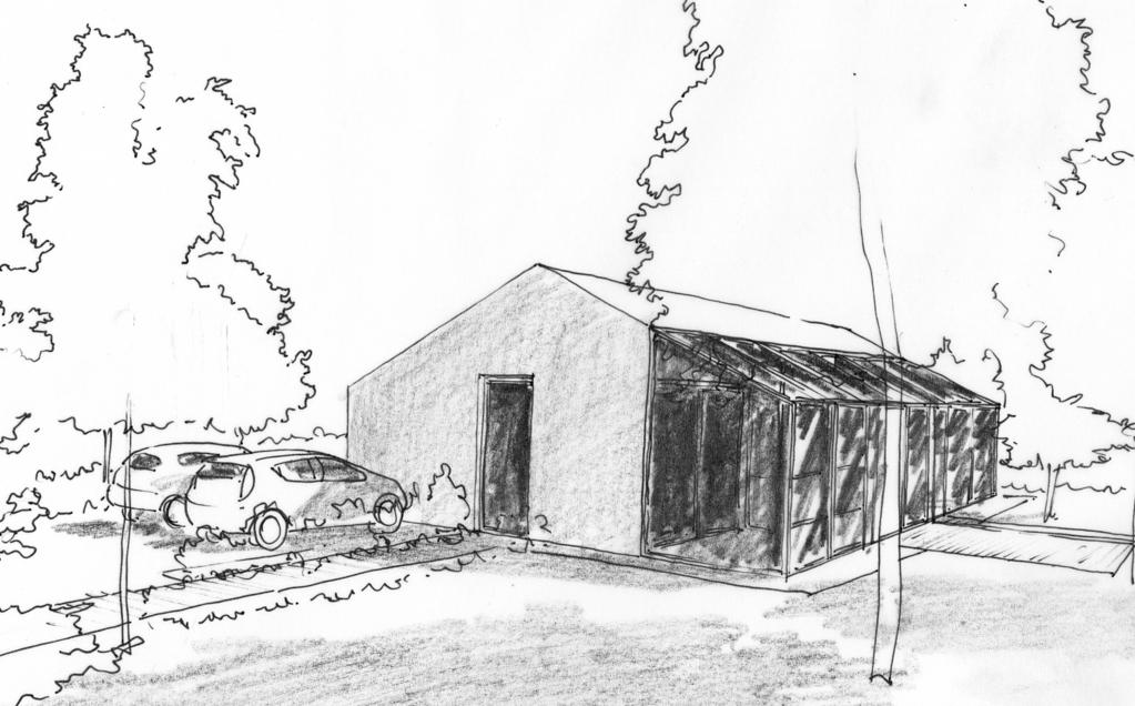 Esquisse 3D Plan de maison de 100 m² avec véranda