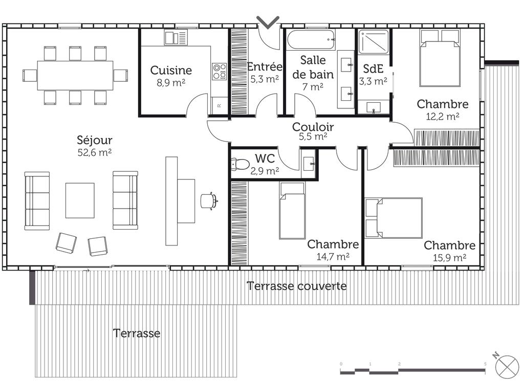 Plan maison BBC plain-pied - Ooreka
