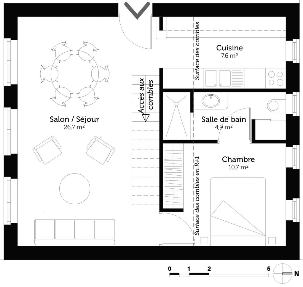 plan maison 50 m avec combles ooreka. Black Bedroom Furniture Sets. Home Design Ideas