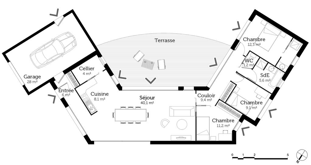 Plan maison en u ouvert ooreka for Plans maisons en u