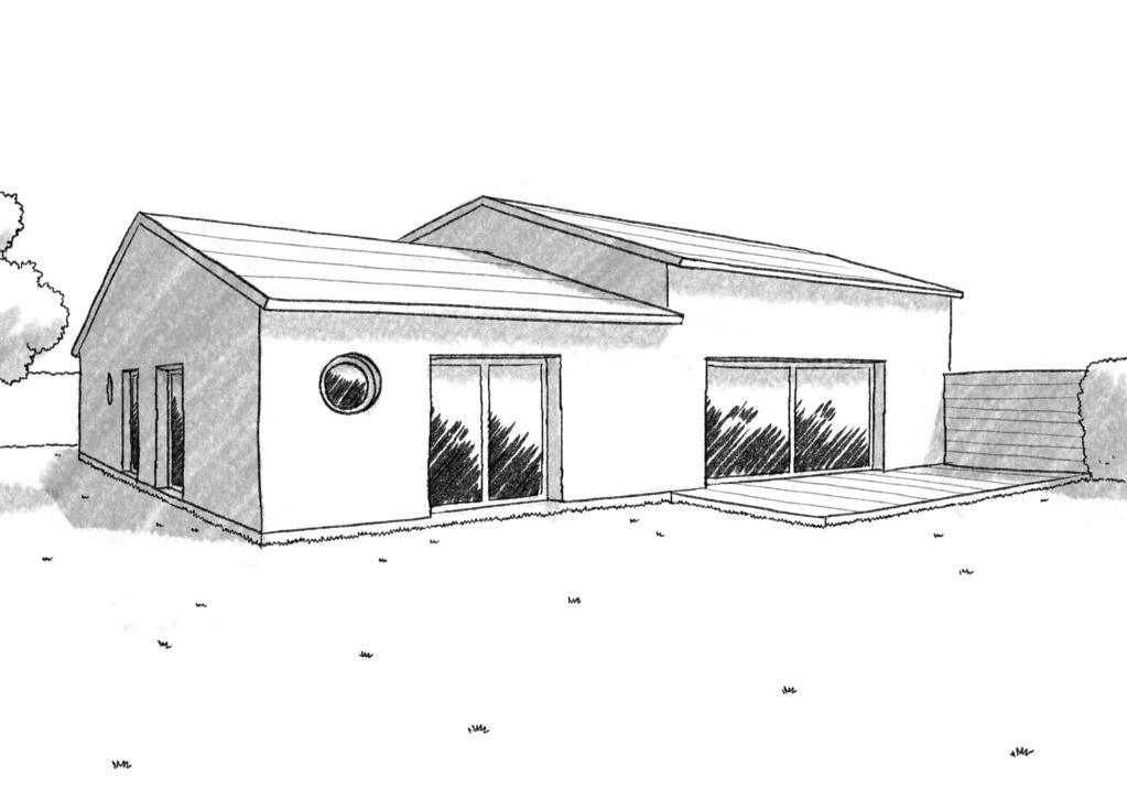 Esquisse 3D Plan De Maison Carrée Avec 4 Chambres