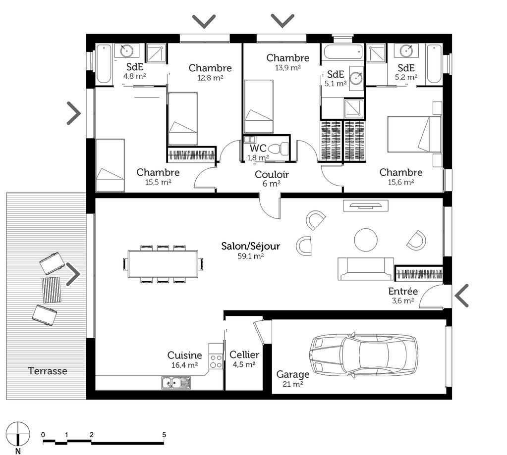 plan maison carr e avec 4 chambres ooreka. Black Bedroom Furniture Sets. Home Design Ideas