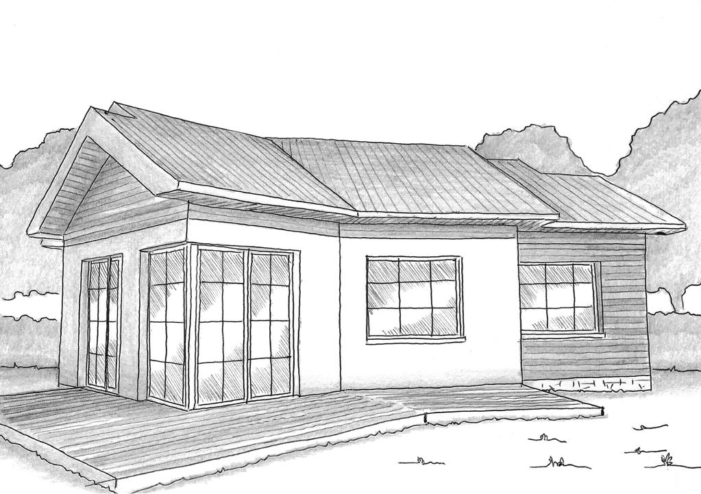 Esquisse 3D Plan de maison de 60 m² en V