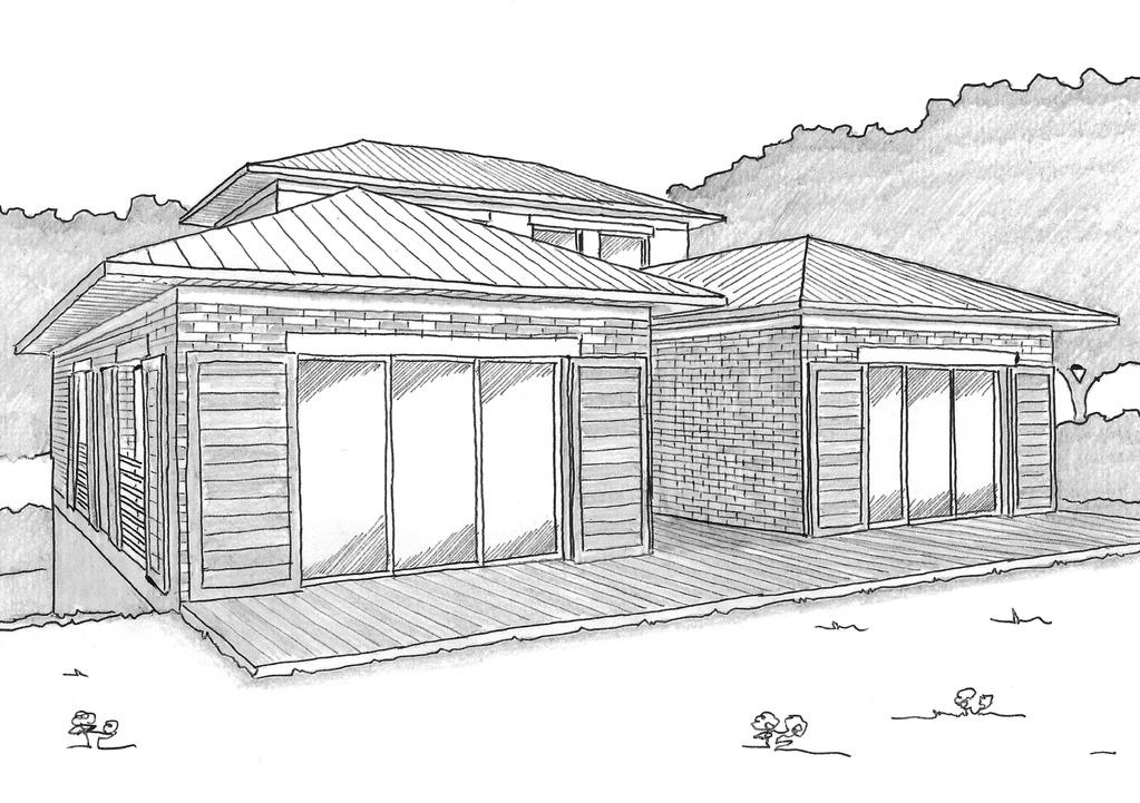Esquisse 3D Plan de maison traditionnelle en U
