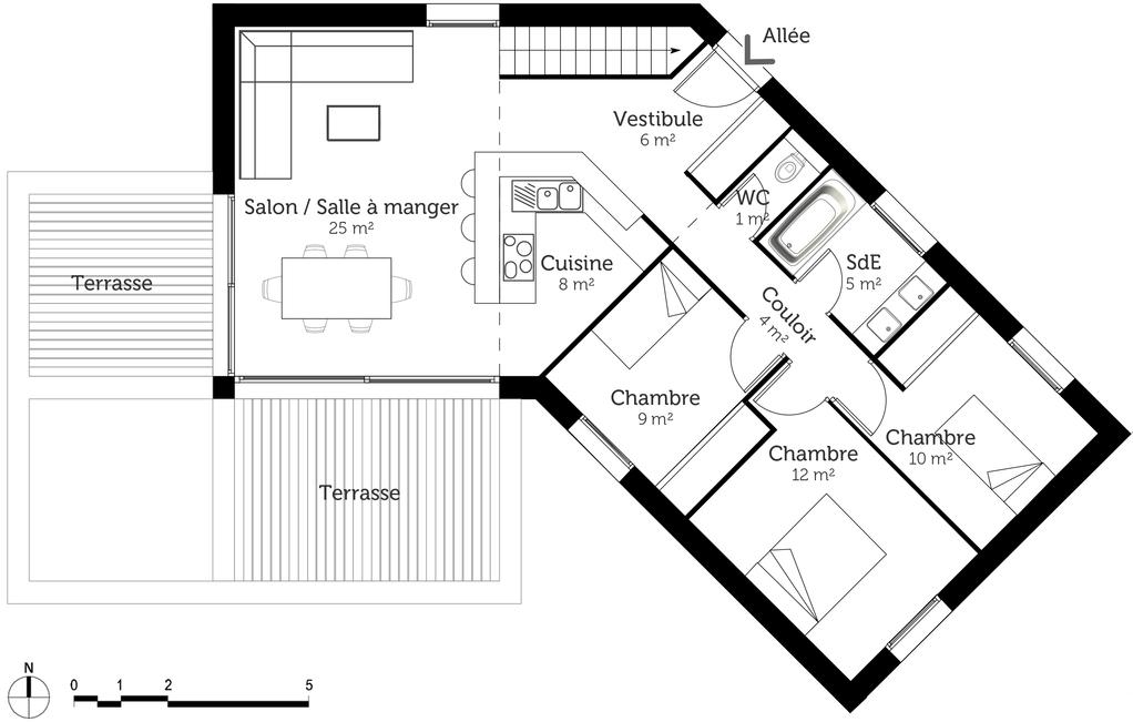 plan de maison en v plain pied