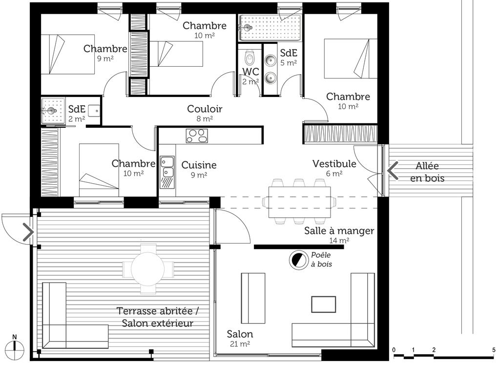 Plan maison cubique 100 m avec 4 chambres ooreka - Plan de maison en l avec 4 chambres ...