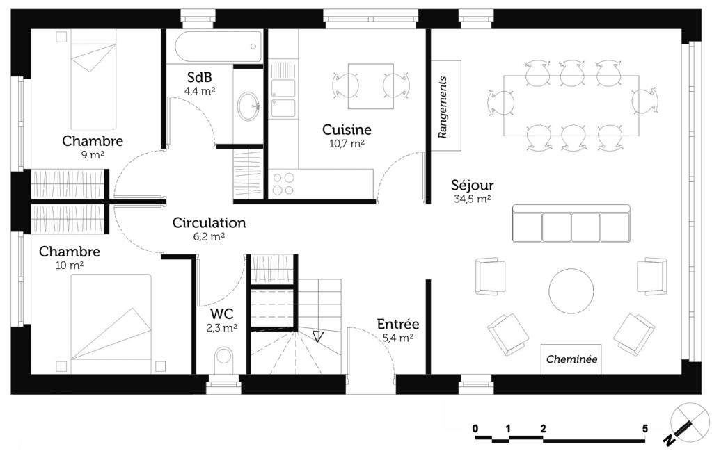 Plan maison 2 chambres et mezzanine - Ooreka