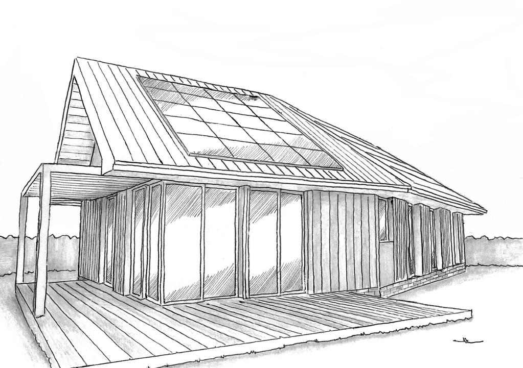 Esquisse 3D Plan de maison en V en bois