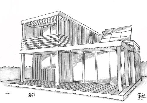 Plan maison contemporaine avec 5 chambres ooreka - Dessin maison contemporaine ...
