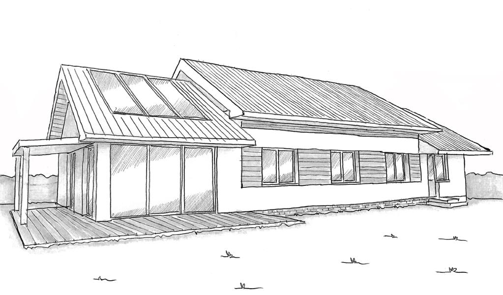 Esquisse 3D Plan de maison traditionnelle avec garage