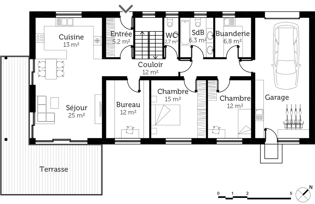 plan maison traditionnelle avec garage ooreka. Black Bedroom Furniture Sets. Home Design Ideas