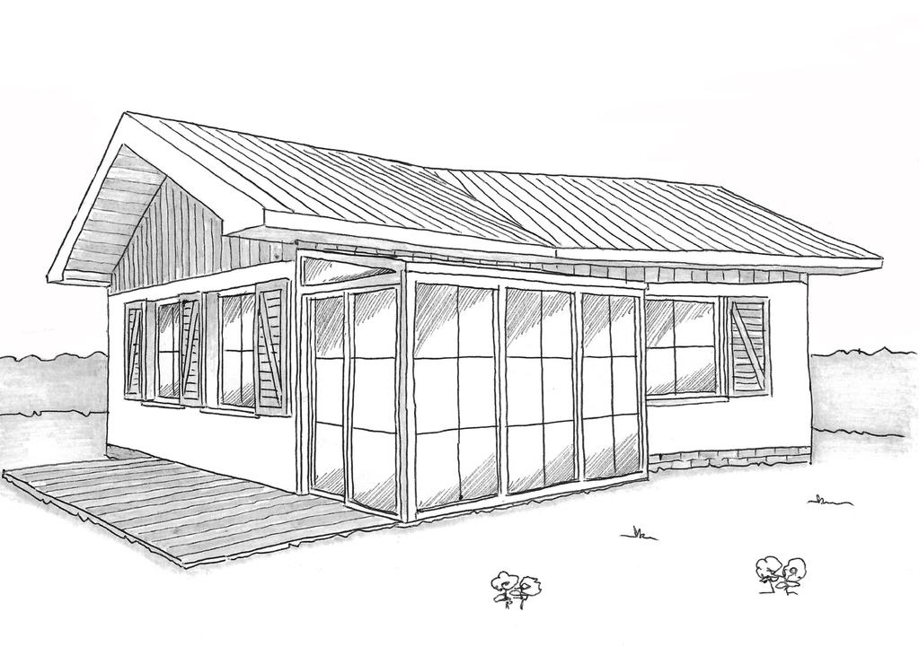 Esquisse 3D Plan de maison accessible de 50 m²