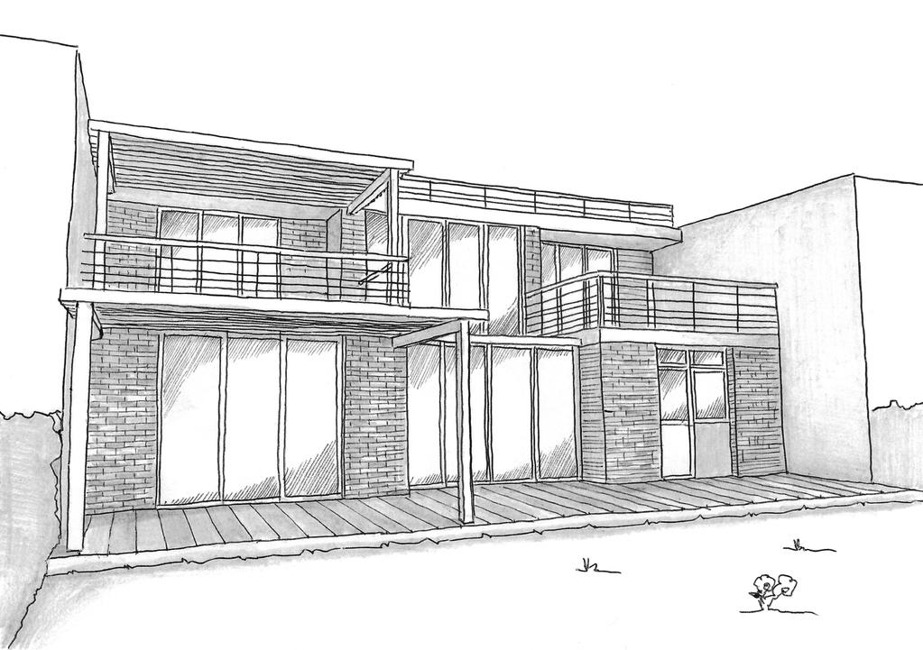 Esquisse 3D Plan de maison avec 2 chambres et véranda