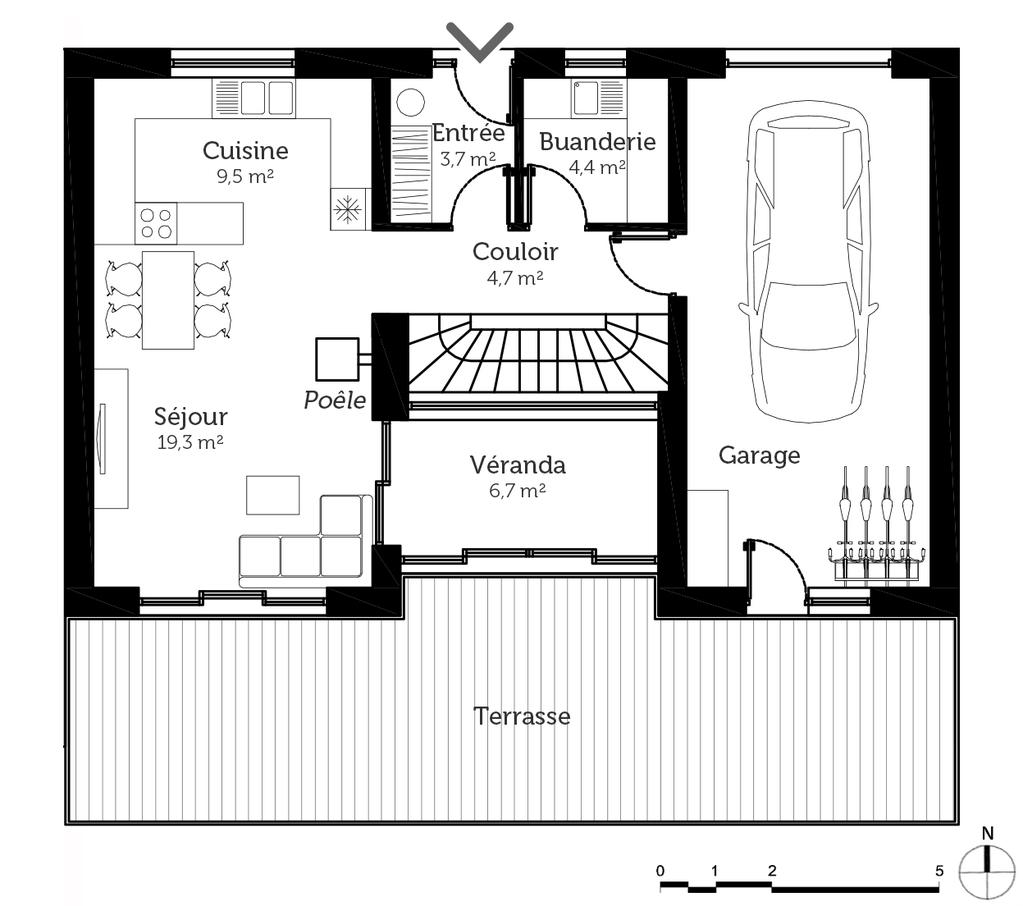 Plan maison avec 2 chambres et v randa ooreka for Plan architecte chambre hotel