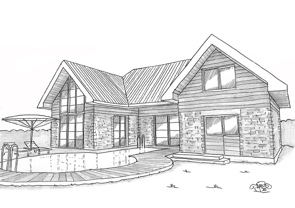 Esquisse 3D Plan de maison à étage avec 3 chambres et piscine