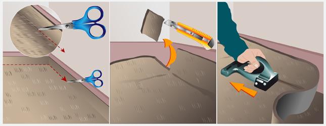 Découpez l'excès de moquette au niveau des angles