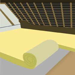 Poser des rouleaux isolants sur plancher de combles perdus