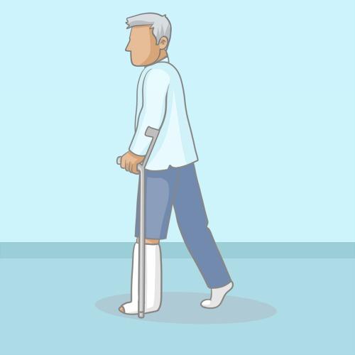 Marcher avec des béquilles