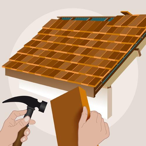 Poser des bardeaux de bois sur un toit