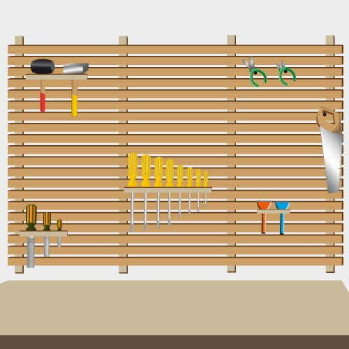 comment fabriquer un rangement outils mural. Black Bedroom Furniture Sets. Home Design Ideas