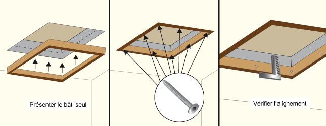 Fixez le bâti de la trappe pour lescalier escamotable