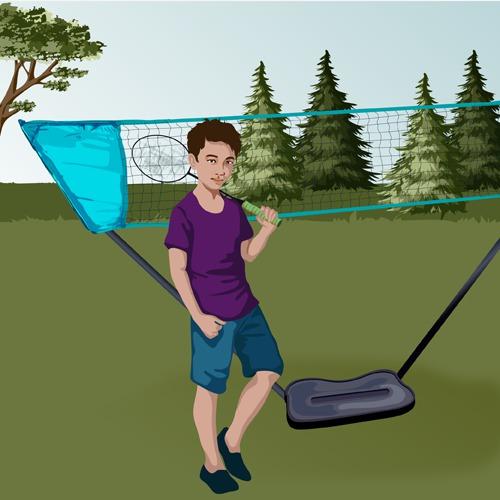Monter un filet de badminton