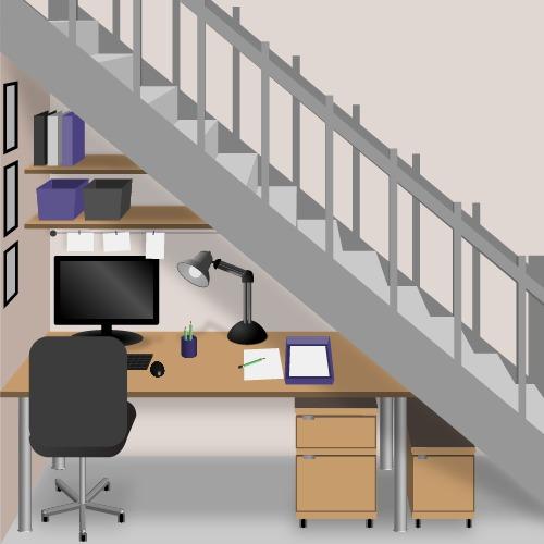 Aménager un bureau sous un escalier