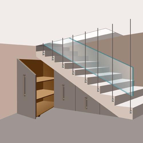 Installer un rangement coulissant sous un escalier