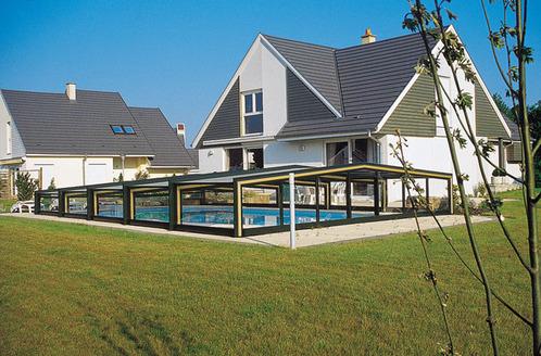 Abri de piscine bas telescopique 3 angles vue d'ensemble