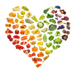 Coeur legumes fruits couleurs degrade